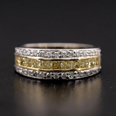 Platinum and 1.10 CTW Diamond Ring with 18K Yellow Gold Accent