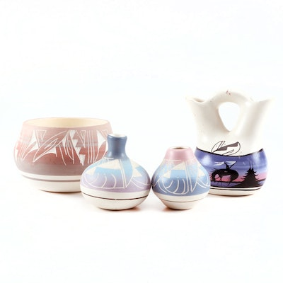 Southwestern Navajo Hand Painted Pottery with Wedding Vase Bowl and  More