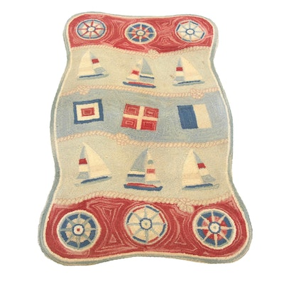 2'7 x 4' Color Fields Hand-Hooked Nautical Motif Rug