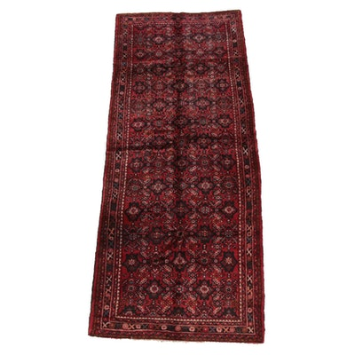 4'0 x 10'3 Hand-Knotted Persian Hamadan Wool Long Rug