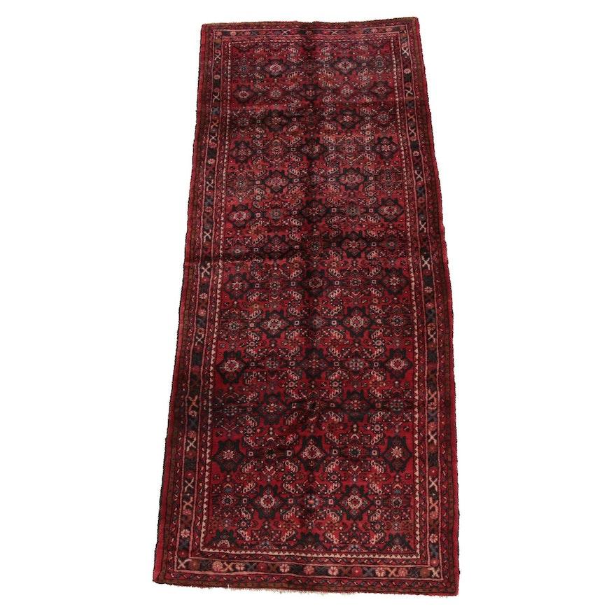 4'0 x 10'3 Hand-Knotted Persian Hamadan Wool Long Rug