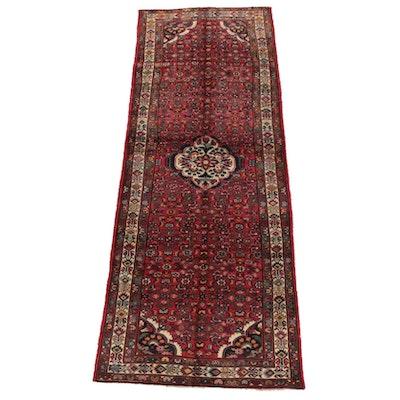 4'4 x 11'11 Hand-Knotted Persian Senneh Bijar Wool Long Rug