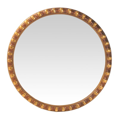 Gold Tone Round Plaster Wall Mirror