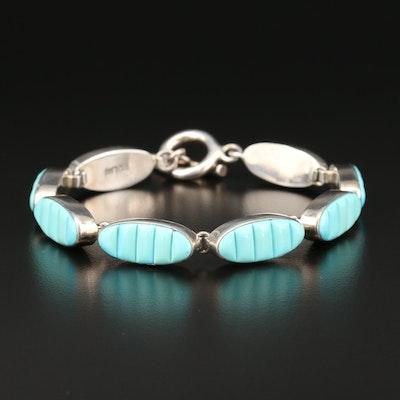 Southwestern Sterling Silver Turquoise Toggle Link Bracelet
