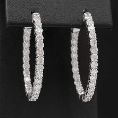 14K White Gold 3.00 CTW Diamond Inside-Out Hoop Earrings