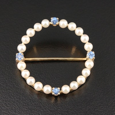 Vintage 14K Yellow Gold Pearl and Sapphire Halo Brooch