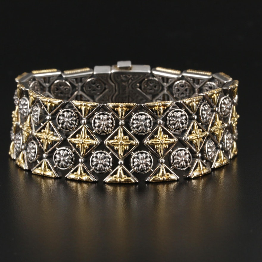 Konstantino Sterling Silver Bracelet with 18K Yellow Gold Accents