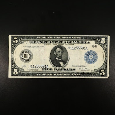 Series of 1914 $5 Federal Reserve Burke/Glass Large Currency Note