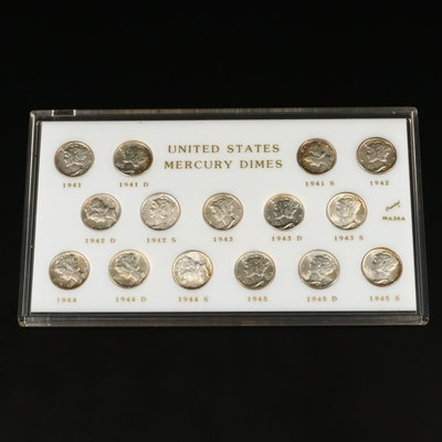 15 Brilliant Uncirculated Silver Mercury Dimes Ranging from 1941-1945