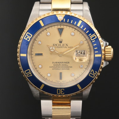 Rolex 18K Submariner Sapphire and Diamond Watch with Serti Dial, 1999