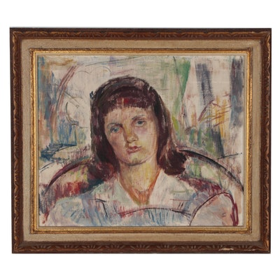 Dorothy Loch Oil Portrait Painting of Young Girl, 1944