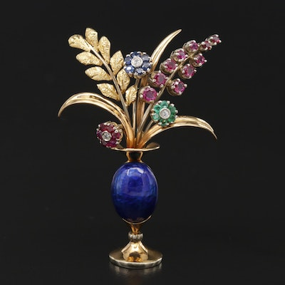 Vintage 18K Yellow Gold Floral Vase Brooch Featuring Ruby, Diamond and Emerald