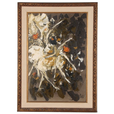 Etta Benjamin Cien Abstract Oil Painting, Mid 20th Century