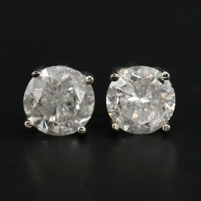 14K White Gold 1.43 CTW Diamond Stud Earrings