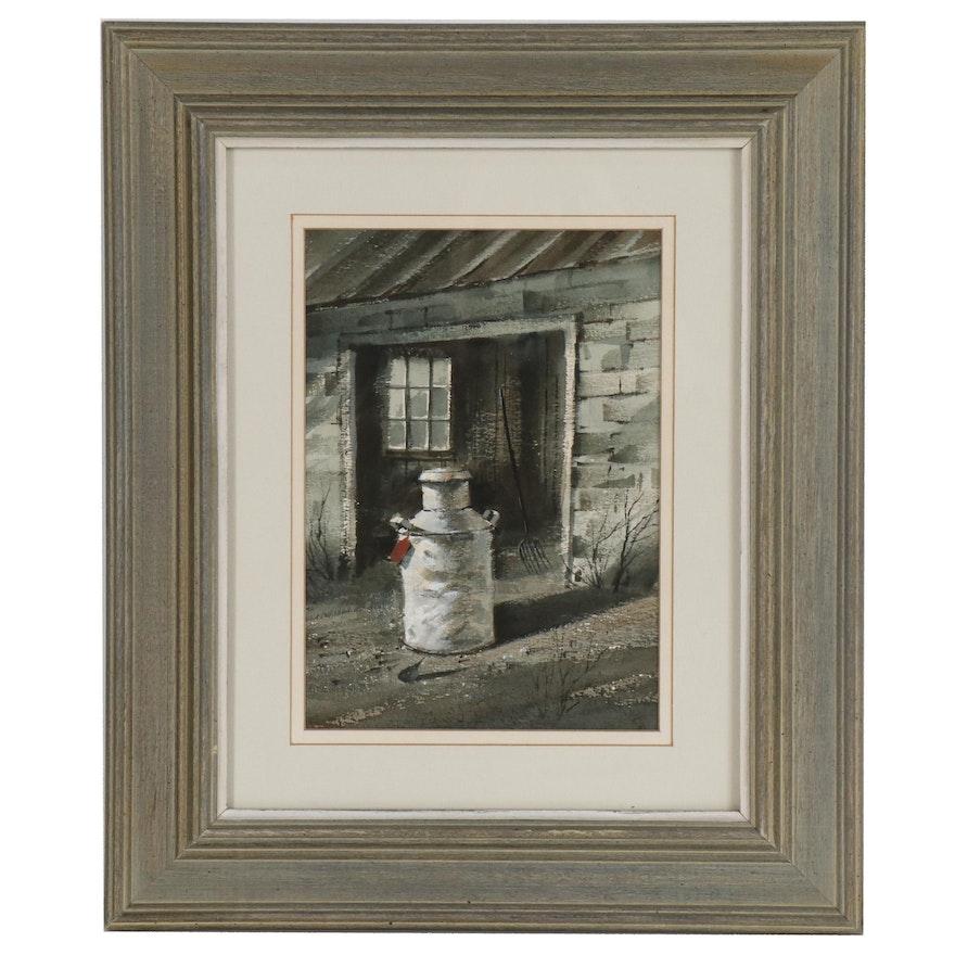 George Bjorklund Watercolor Painting of Milk Can