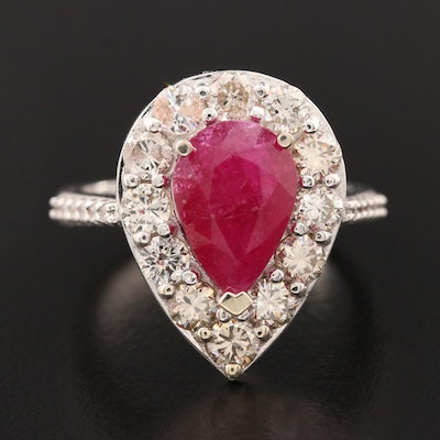 18K White Gold Ruby and 1.47 CTW Diamond Halo Ring