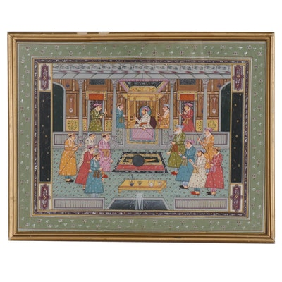 Indo-Persian Style Gouache Painting of Court Scene