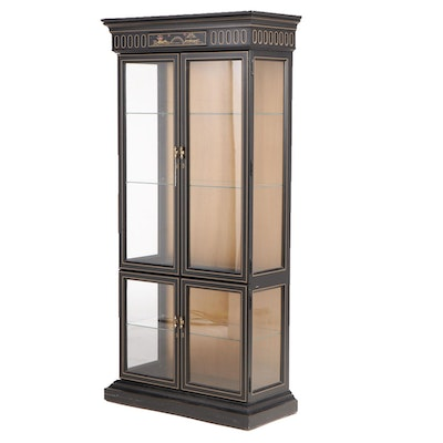 Jasper Cabinet Black Chinoiserie Painted Display Cabinet, Late 20th Century