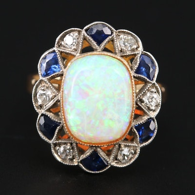 Belle Époque 18K Yellow Gold and Sterling Opal, Diamond, and Sapphire Ring