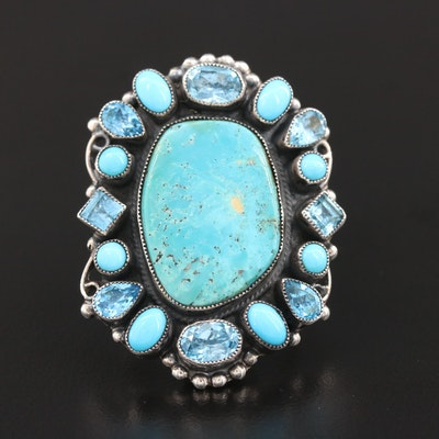 Southwestern Leo Feeney Sterling Silver Turquoise Blue Topaz Ring