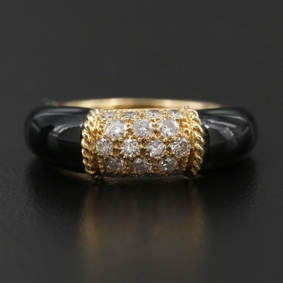 """Van Cleef and Arpels """"Philippine"""" 18K Yellow Gold Diamond and Black Onyx Ring"""