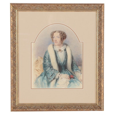 L. Stocks Watercolor Portrait Painting, 1855