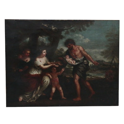 Allegorical Landscape Oil Painting, Late 19th Century