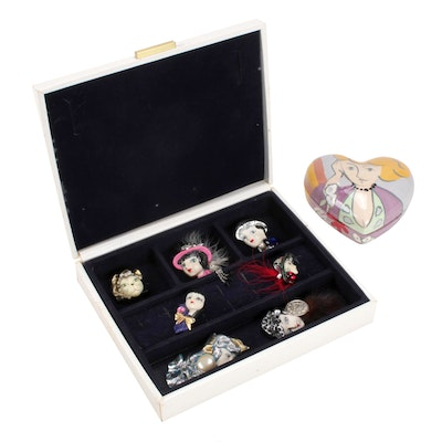 Jewelry Boxes and Signed Embellished Lady Brooches