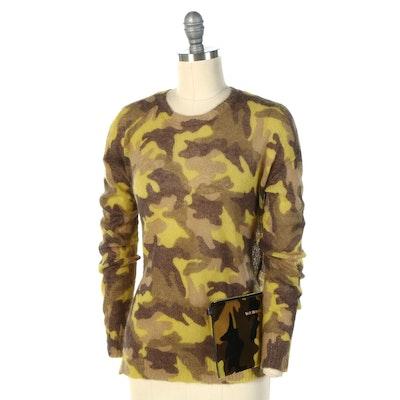 MICHAEL Michael Kors Lemon Camo Print Wool Blend Sweater and Calf Hair Clutch