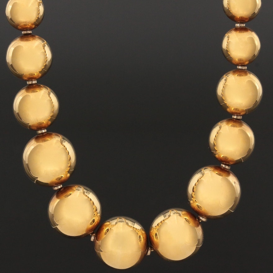 18K Yellow Gold Graduated Beaded Necklace