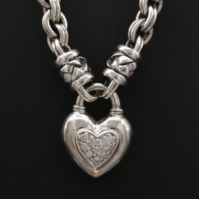 Scott Kay Sterling Silver Diamond Basket Weave Heart Necklace