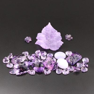 Loose 386.00 CTW Amethyst Gemstones and Two Jadeite