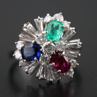 18K White Gold 1.12 CTW Diamond, Ruby, Emerald and Sapphire Ring
