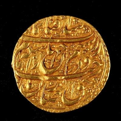 Circa 1778 1/4 Mohur Gold Coin from Persia