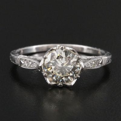 18K White Gold 1.11 CTW Diamond Hand Engraved Ring with Milgrain Detail