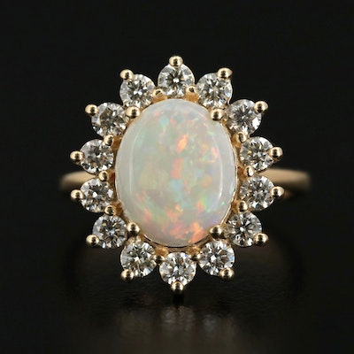 EFFY 14K Yellow Gold Opal and 1.00 CTW Diamond Halo Ring