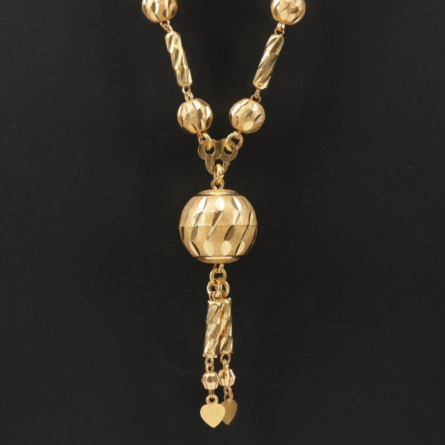 14K Yellow Gold Necklace with Diamond Cut Accents