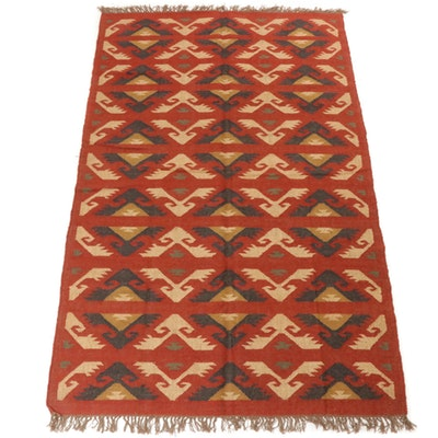 5'1 x 8'6 Handwoven Turkish Kilim Wool Rug