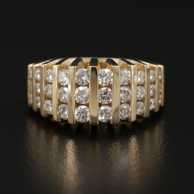 14K Yellow Gold 1.00 CTW Graduated Diamond Ring