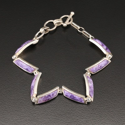 Betty Thomas Sanel Navajo Sterling Silver Charoite Link Bracelet