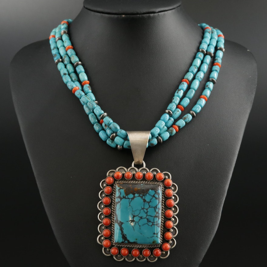 T. Spencer Navajo Diné Sterling Turquoise and Coral Pendant On Beaded Necklace