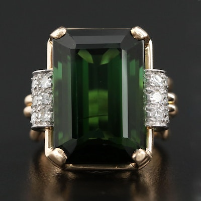 18K Yellow Gold 20.05 CT Chrome Tourmaline and Diamond Ring