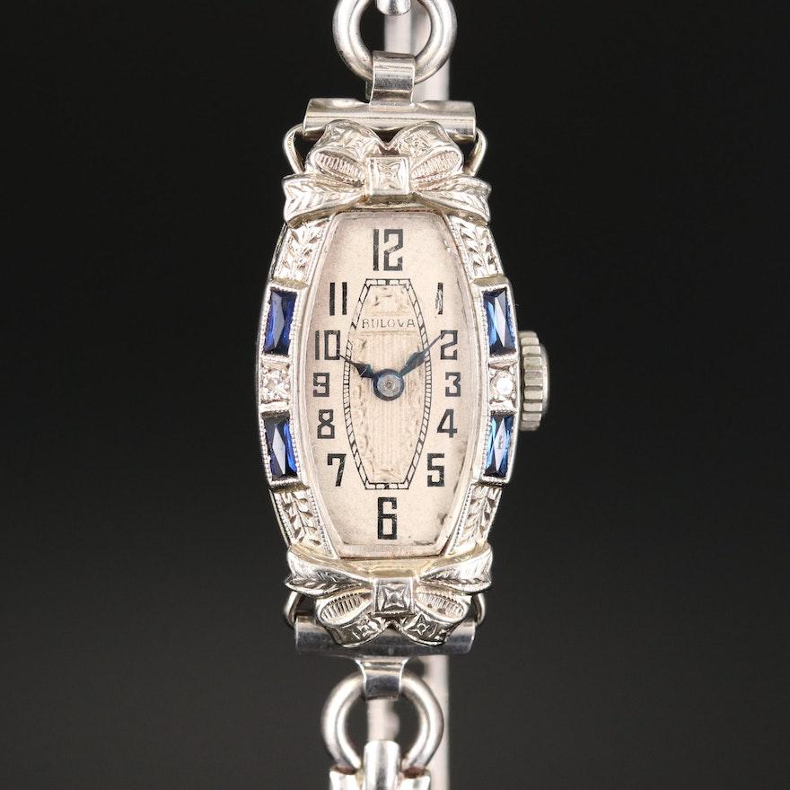 Bulova 14K White Gold With Diamonds and Sapphires Wristwatch, Vintage