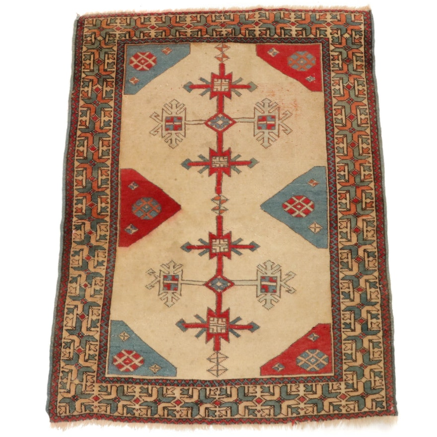 Hand-Knotted Turkish Village Rug, 1970s