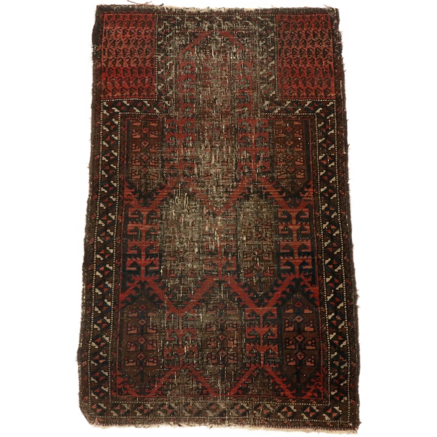 2'5 x 3'11 Hand-Knotted Persian Baluch Rug, 1910s