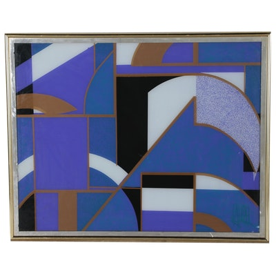 Abstract Geometric Reverse Serigraph on Glass