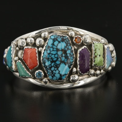 Eric and Carol Fierro Navajo Diné Cuff Bracelet Including Turquoise and Coral