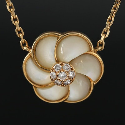 Van Cleef & Arpels 18K Gold Mother of Pearl and Diamond Flower Pendant Necklace