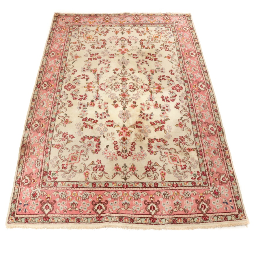 6'10 x 10'4 Hand-Knotted Persian Kerman Rug, 1970s