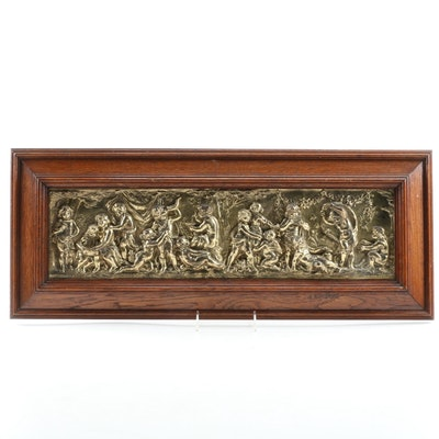 Bachanalian Themed Repoussé Brass Frieze, Antique
